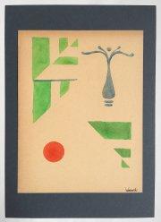 """Kunstwerk Schablonendruck \""""Blütenstempel-Variation 3\"""""""