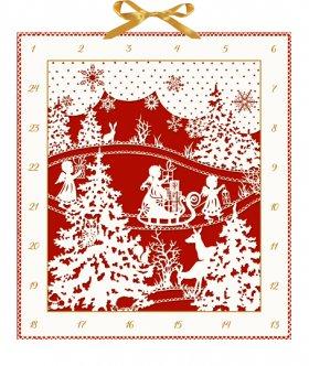 Weihnachtlicher Scherenschnitt Adventskalender in Rot-Weiß